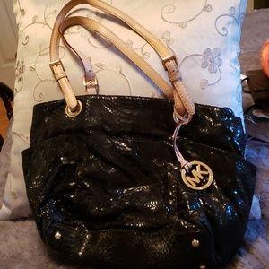 Used black crock embossed bag